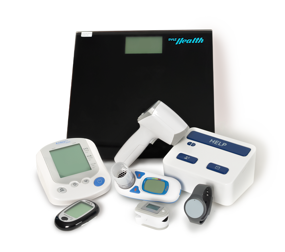 Pro Health Package - Pro health console, Remote Assistance Button, Glucose Meter, Non-contact thermometer, Wearable wrist pendant, digital scale, pulse oximeter